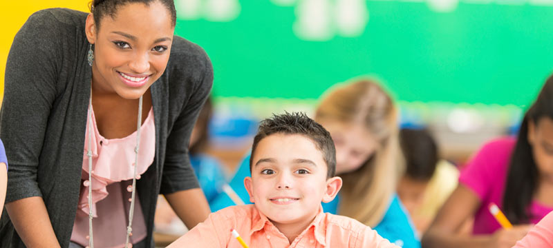 Special education teacher with a student