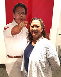 Celeste Kallenborn with Nick Saban cutout