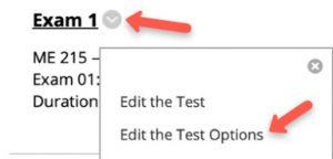 Edit the test options