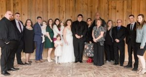 Rachel and her family at her wedding