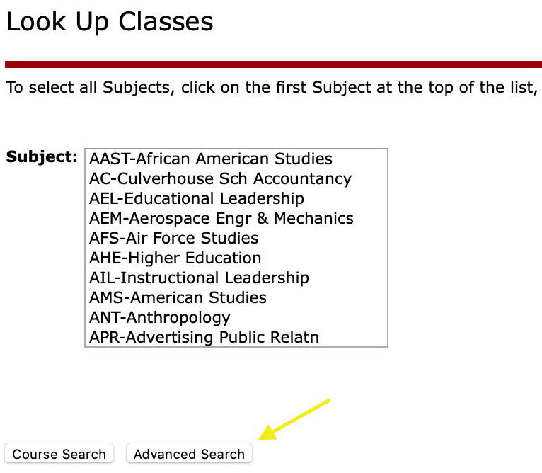Look up classes list and advanced search options