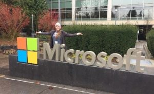 Kristi in front of Microsoft corporate offices