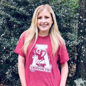 Shelby in an Alabama tshirt