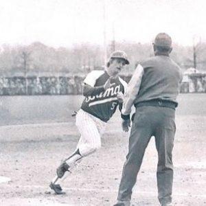 Keith playing baseball for UA - black and white photo